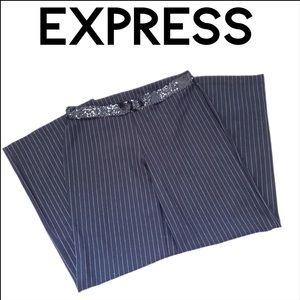 Express Wide Leg Black Pinstripe Pants